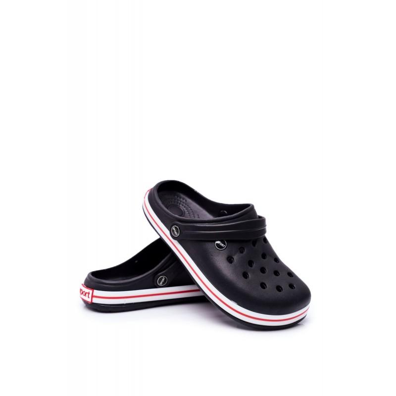 Gumové pánské kroksy černé barvy s dírami