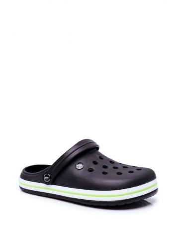 Pánské gumové kroksy se zeleným lemem v černé barvě
