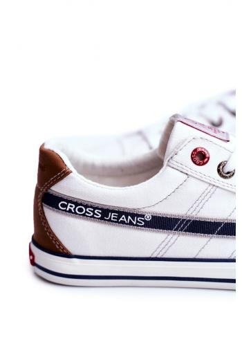 Plátěné pánské tramky Cross Jeans bílé barvy