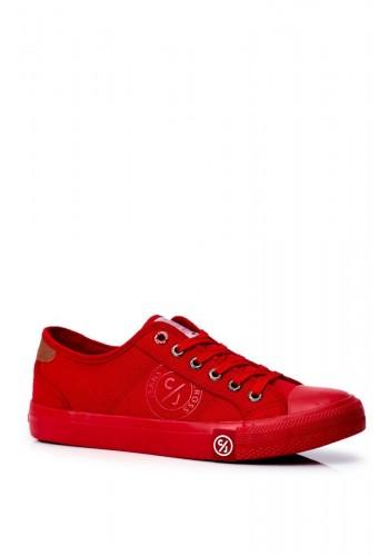 Plátěné pánské tramky Cross Jeans červené barvy