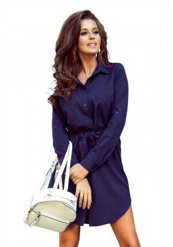 Tmavě modré košilové šaty s dlouhým rukávem pro dámy