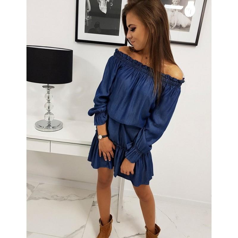 Tmavě modré riflové šaty s volány pro dámy