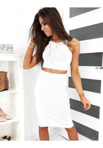 Žebrovaný dámský komplet bílé barvy na léto