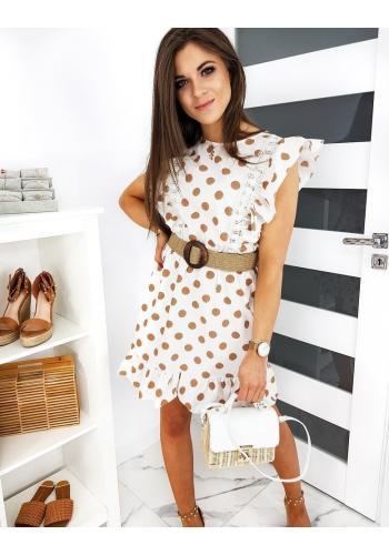 Dámské pin up šaty s béžovými kuličkami v bílé barvě