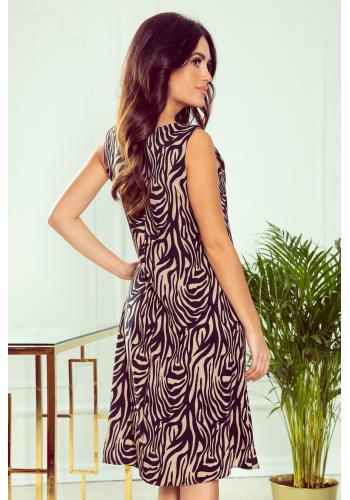 Béžové lichoběžníkové šaty s motivem zebry pro dámy