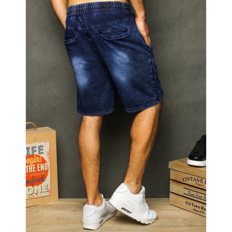 Tmavě modré módní kraťasy s riflovým vzhledem pro pány