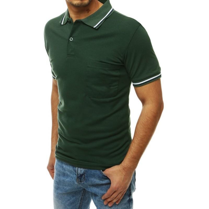 Klasická pánská polokošile zelené barvy s kapsou na hrudi