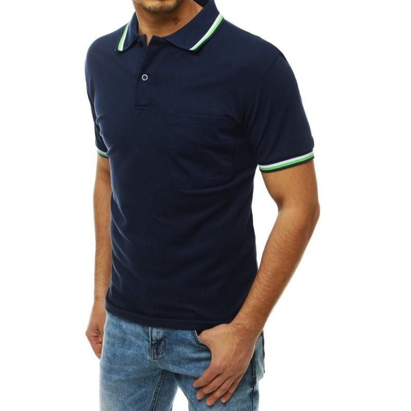 Tmavě modrá klasická polokošile s kapsou na hrudi pro pány