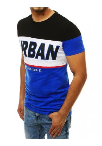 Bavlněné pánské tričko modro-černé barvy s potiskem