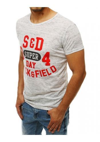Pánské vzorované tričko s potiskem v bílé barvě