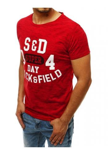Vzorované pánská trička červené barvy s potiskem