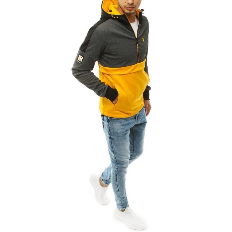 Pánská stylová mikina se žlutými vložkami v tmavě šedé barvě