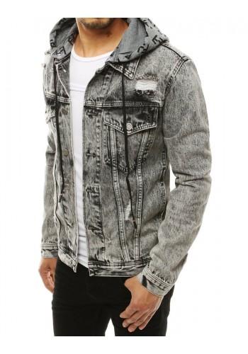 Tmavě šedá riflová bunda s odepínací kapucí pro pány