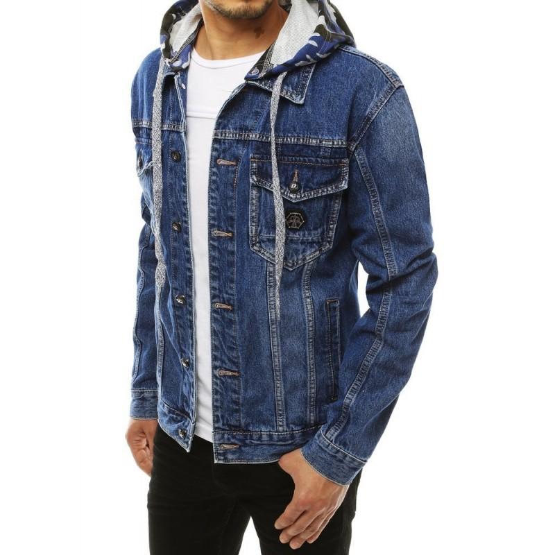 Pánská riflová bunda s teplákovou kapucí v modré barvě