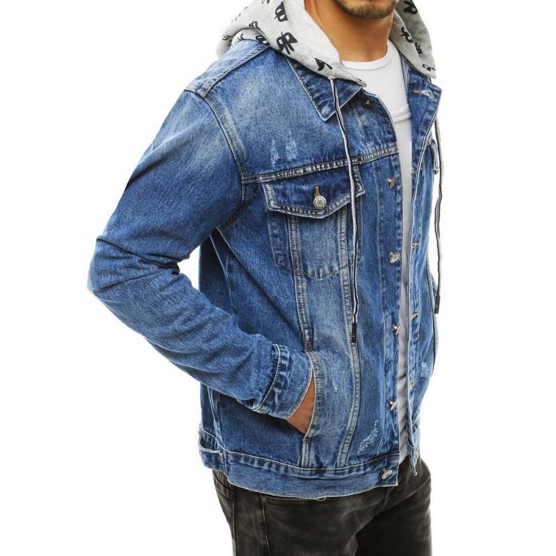 Riflová pánská bunda světle modré barvy s odepínací kapucí