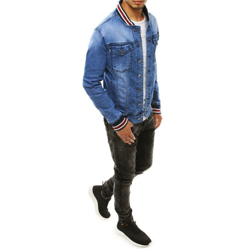 Světle modrá riflová bunda se stojacím límcem pro pány
