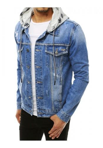 Pánská riflová bunda s teplákovou kapucí v světle modré barvě