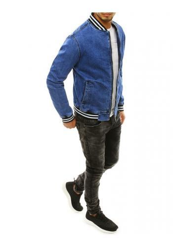 Riflová pánská bunda modré barvy se stojacím límcem