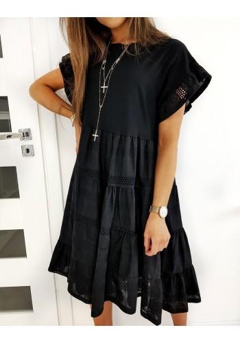 Volné dámské šaty černé barvy s krátkým rukávem