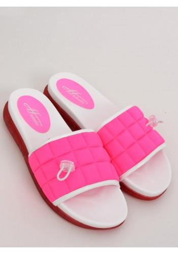 Dámské pohodlné pantofle s prošívaným pásem ve fuchsiové barvě