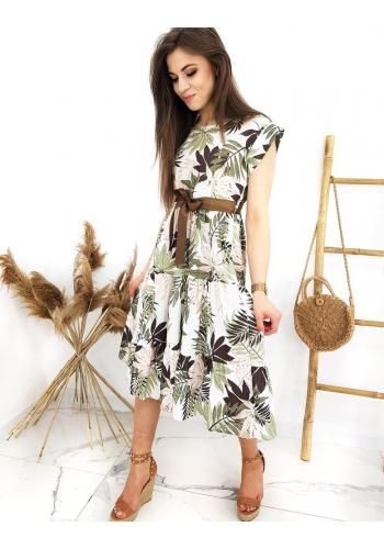 Dámské dlouhé letní šaty s motivem listů v bílo-zelené barvě