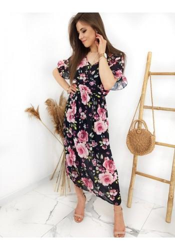 Dlouhé dámské šaty černé barvy s květovaným potiskem