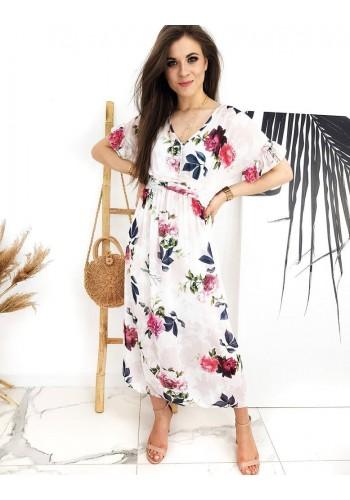 Dámské dlouhé šaty s květovaným potiskem v bílé barvě