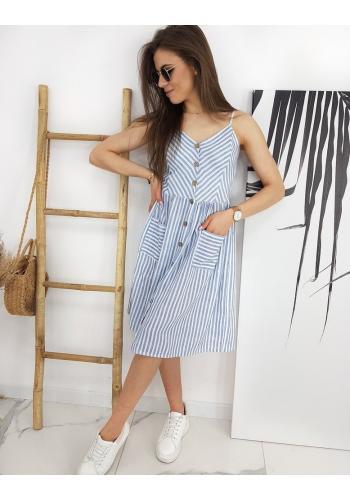 Proužkované dámské šaty modro-bílé barvy na léto