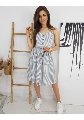Šedo-bílé proužkované šaty na léto pro dámy