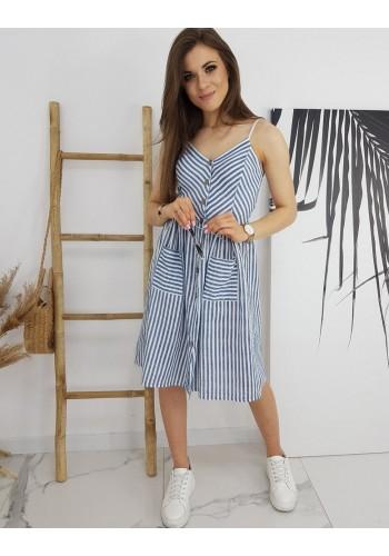 Dámské proužkované šaty na léto v modro-bílé barvě