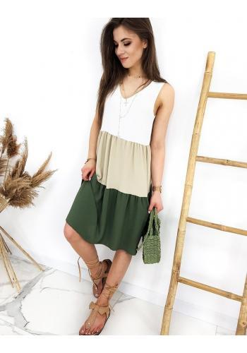 Letní dámské šaty zeleno-bílé barvy bez rukávů
