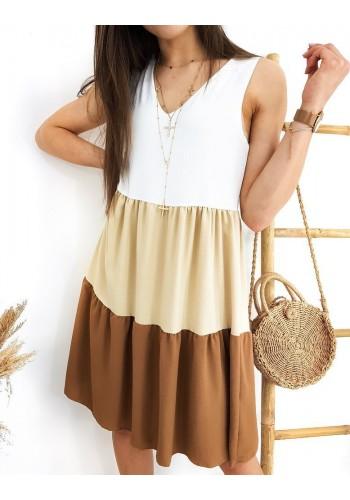 Hnědo-bílé letní šaty bez rukávů pro dámy