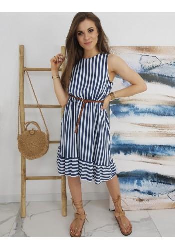 Proužkované dámské šaty modro-bílé barvy s vázáním vzadu