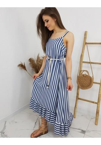 Dámské dlouhé proužkované šaty na ramínka v modro-bílé barvě