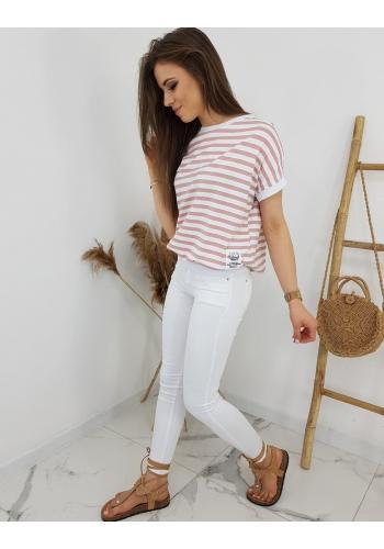 Klasické dámské tričko růžovo-bílé barvy s proužky