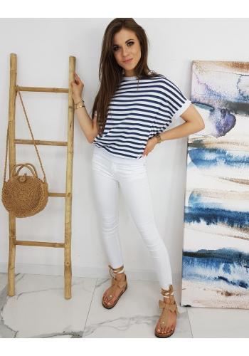 Dámské klasické tričko s proužky v modro-bílé barvě