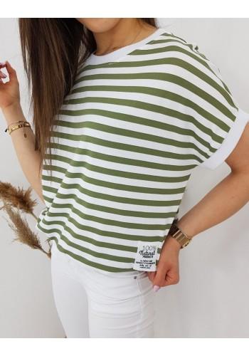 Olivově-bílé klasické tričko s proužky pro dámy