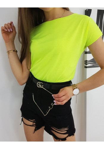 Neonově žluté klasické tričko s krátkým rukávem pro dámy