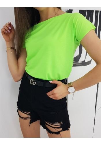 Dámské klasické tričko s krátkým rukávem v neonově zelené barvě