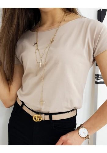 Béžové klasické tričko s krátkým rukávem pro dámy