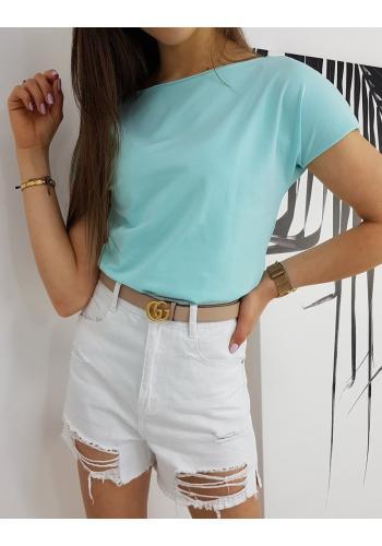 Klasické dámské tričko mátové barvy s krátkým rukávem