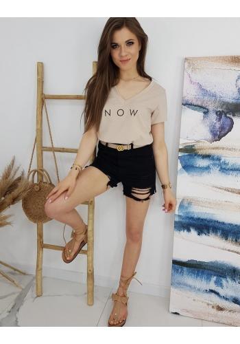 Módní dámské tričko béžové barvy s nápisem NOW