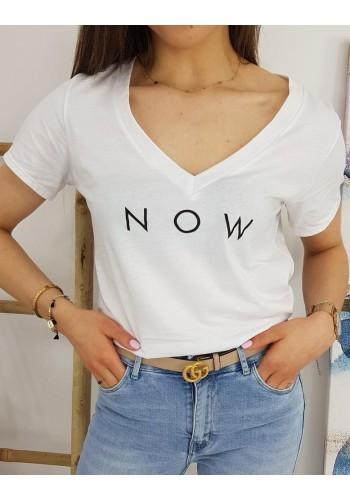 Dámské módní tričko s nápisem NOW v bílé barvě