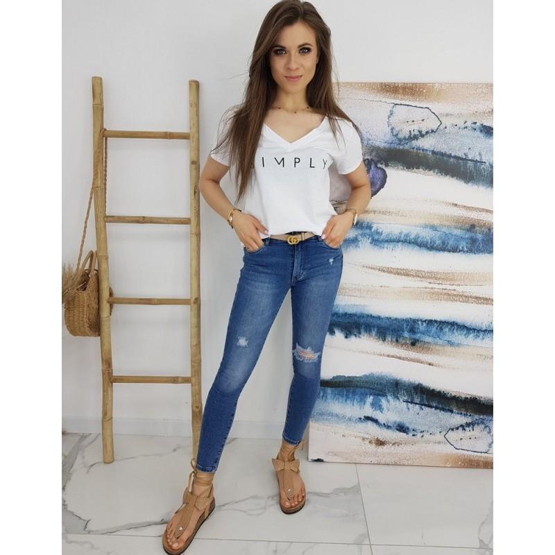 Klasické dámské tričko bílé barvy s nápisem SIMPLY