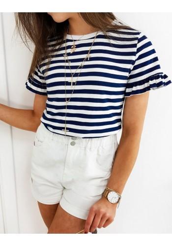 Dámské proužkované tričko s ozdobnými volány v modro-bílé barvě