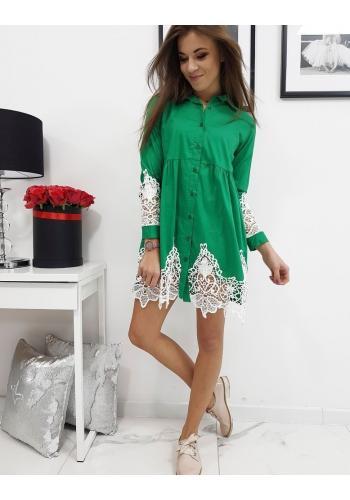 Košilové dámské šaty zelené barvy s krajkou