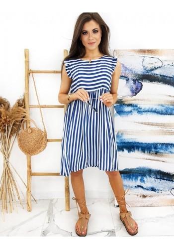 Volné dámské šaty modro-bílé barvy s proužky
