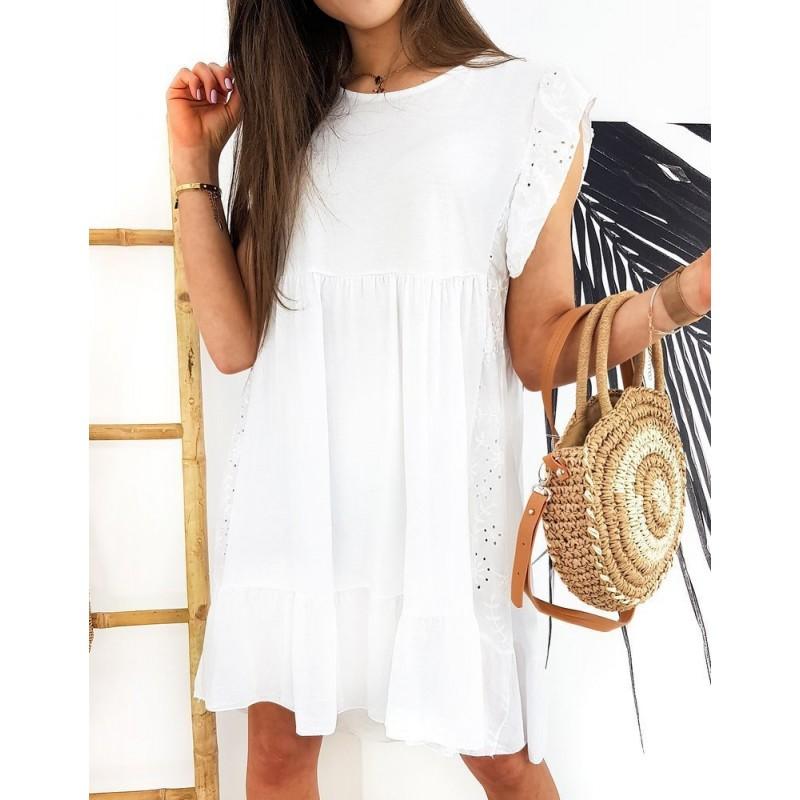 Bílé bavlněné šaty s volnějším střihem pro dámy