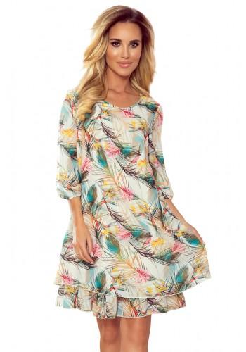 Bílé šifónové šaty s barevnými pírky pro dámy
