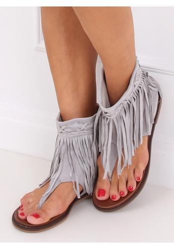 Dámské semišové sandály se svrškem a třásněmi v šedé barvě